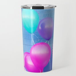 Colorful Balloons on Blue Travel Mug