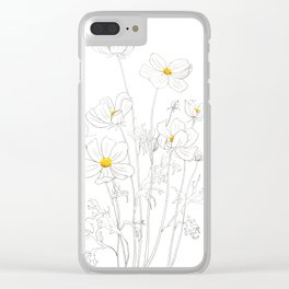 white cosmos flowers  ink and watercolor Clear iPhone Case