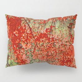Abstract Red Rust on Green Paint Pillow Sham