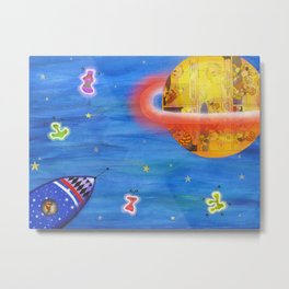 Space Rocket Planet Aliens and Shooting Stars Metal Print
