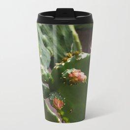 Summer Cactus in Flower Metal Travel Mug