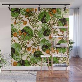 Orange Floral Botanic Wall Mural