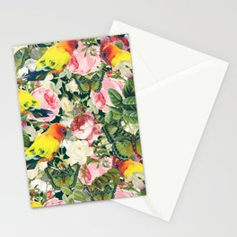 Parrots in rose garden Stationery Cards