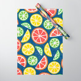Vitamin C Super Boost - Citric Fruits on Blue Wrapping Paper