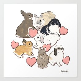 Hearts and bunnies Art Print