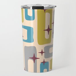 Retro Mid Century Modern Abstract Pattern 924 Turquoise Gray Olive Travel Mug