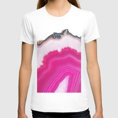 Pink Agate Slice SMALL White Womens Fitted Tee