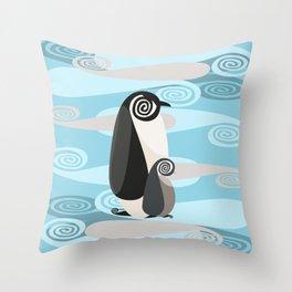 Penguin Pair Paisley Throw Pillow