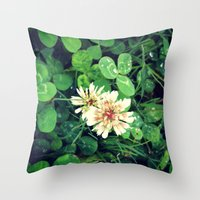clover Throw Pillows featuring Clover by Amber Dawn Hilton
