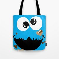 cookie monster Tote Bags featuring Cookie Monster  by Lyre Aloise