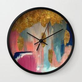 Gold Leaf & Indigo Blue Abstract Wall Clock