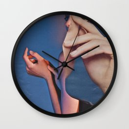 Abstract In Blue With Hands Wall Clock