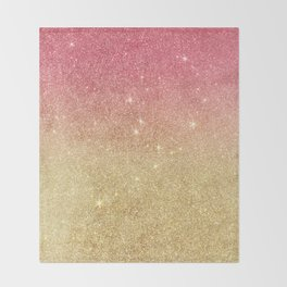 Pink abstract gold ombre glitter Throw Blanket