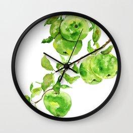 green apple watercolor Wall Clock