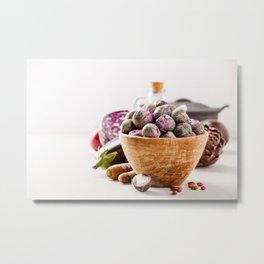 Fresh organic purple fruits and vegetables Metal Print