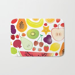 Healthy lifestyle. Fruits on white background Bath Mat