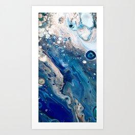 Blue Marbled Fluid Painting Unique Swirls Water Art Print