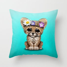 Cute Baby Cheetah Hippie Throw Pillow