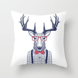 MR DEER WITH GLASSES Throw Pillow