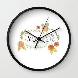 Namaste Floral Watercolor Wall Clock