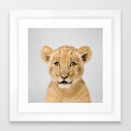 Baby Lion - Colorful Framed Art Print