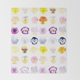 colorful pansies watercolor painting Throw Blanket