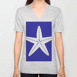 Starfish (White & Navy Blue) Unisex V-Neck