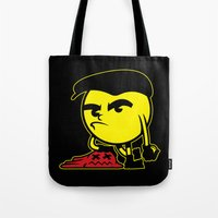 pac man Tote Bags featuring Pac-Man by La Manette