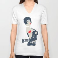 rocky horror V-neck T-shirts featuring Rocky Horror by Alec Goss