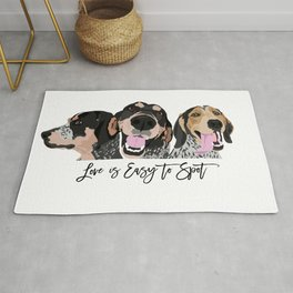 Love is Easy to Spot Bluetick Coonhound Rug
