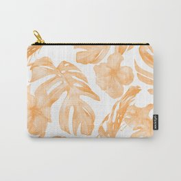 Island Vacation Hibiscus Palm Leaf Coral Orange Carry-All Pouch