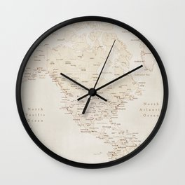 Vintage sepia map of America - PRINTS in L and XL only Wall Clock