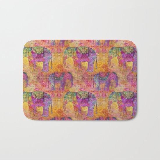 Elephant Pattern colorful orange pink Bath Mat