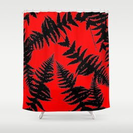Chinese Red Oriental Style Black Ferns Shower Curtain