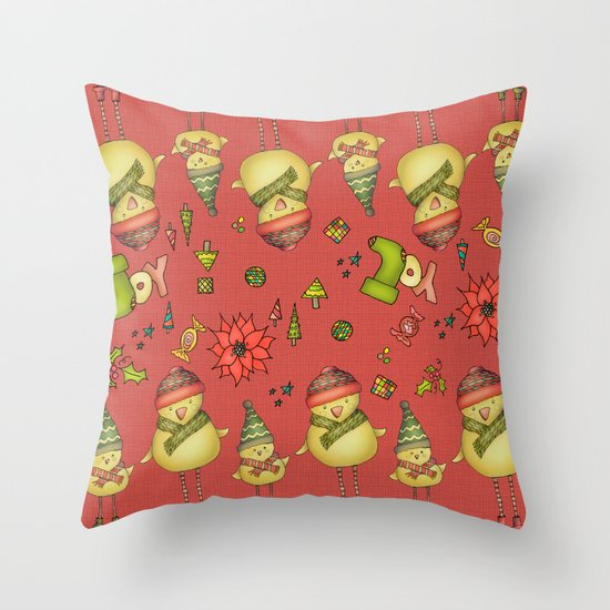 Two Chicks Pattern ~ Red Throw Pillow