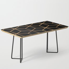 Black and Gold - Geometric Cube Design Coffee Table