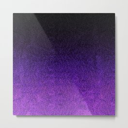 Purple & Black Glitter Gradient Metal Print