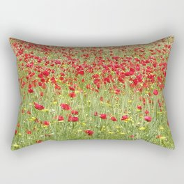 Meadow With Beautiful Bright Red Poppy Flowers  Rectangular Pillow