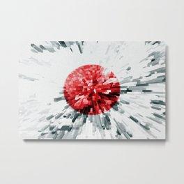 Japanese Flag Extrude Metal Print