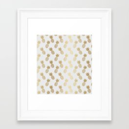 Gold Pineapple Pattern Framed Art Print
