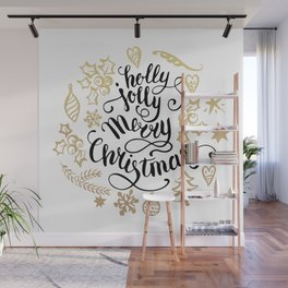 Holly jolly Merry christmas and a happy new year typography handwriting illustration Wall Mural