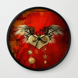 Wonderful steampunk heart with wings Wall Clock