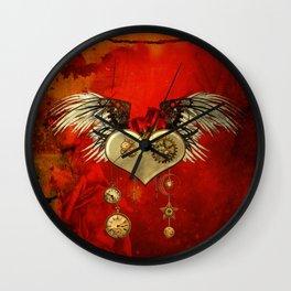 Wonderful steampunk heart with wings Wall Clock