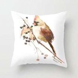 Cardinal Bird and Fall Berries Throw Pillow