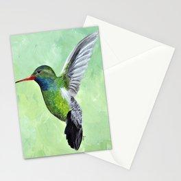 Green Hummingbird Art, Small Bird Painting, Birds and Berry Studio Stationery Cards