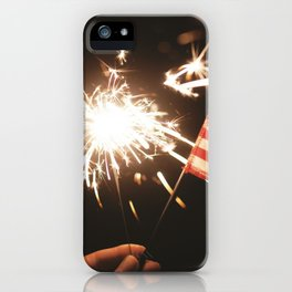 American Celebration on July 4th with Sparklers Flags and Fireworks iPhone Case