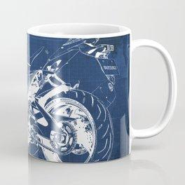 Suzuki motorcycle blueprint, white line, blue vintage background Coffee Mug