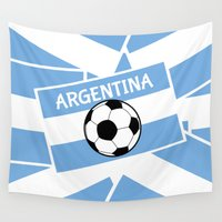 football Wall Tapestries featuring Argentina Football by mailboxdisco