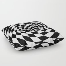 Optical Illusion Op Art Black and White Floor Pillow