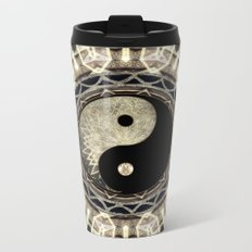 Yin Yang Geometry Mandala V1 Metal Travel Mug